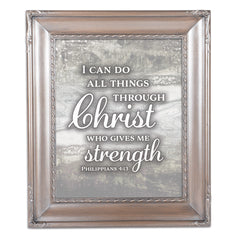 I Can Do All Things Silver Greybrush 8 x 10  Wall And Tabletop Photo Frame