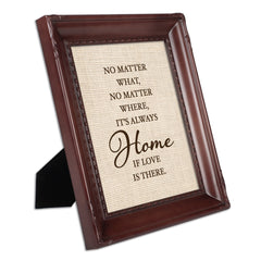 Love is Always Home Mahogany Rope Trim 8 x 10 Table Top and Wall Photo Frame