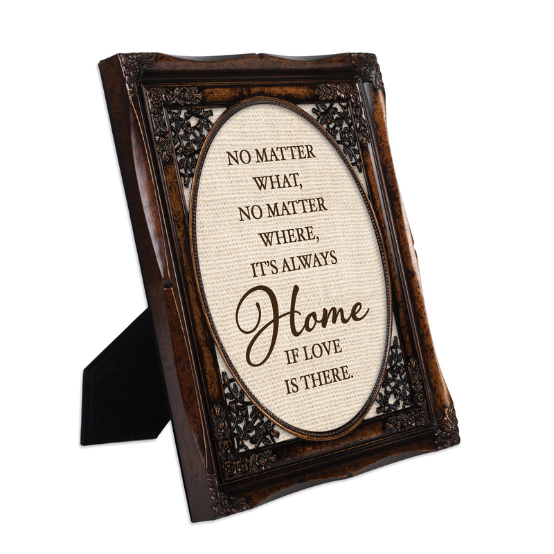 Love is Always Home Burlwood Floral Cutout 8 x 10 Table Top and Wall Photo Frame