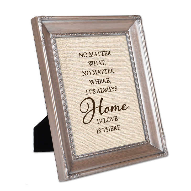 Love is Always Home Brushed Silver Rope Trim 8 x 10 Table Top and Wall Photo Frame