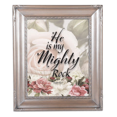 He Is My Mighty Rock Silver Greybrush 8 x 10  Wall And Tabletop Photo Frame
