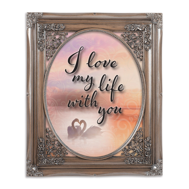 Love Life With You Oval Silver Greybrush 8 x 10  Oval Wall And Tabletop Photo Frame