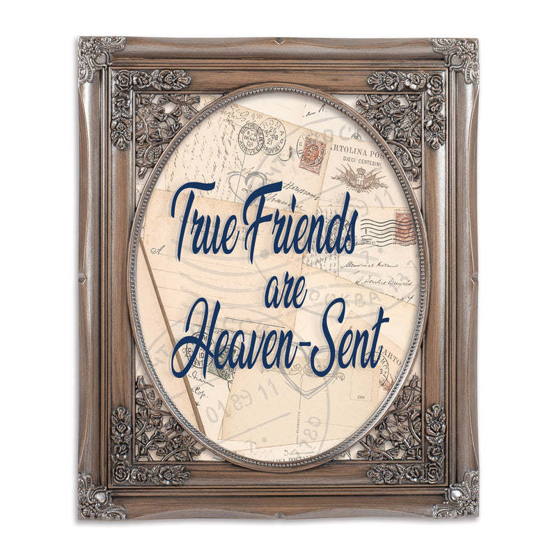 True Friends Oval Silver Greybrush 8 x 10  Oval Wall And Tabletop Photo Frame