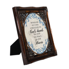 He Gives Us Peace Burlwood Floral Cutout 8 x 10 Table Top and Wall Photo Frame