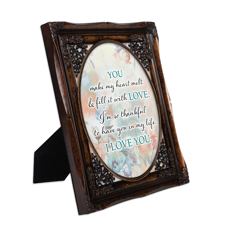 You Make My Heart Melt Burlwood Floral Cutout 8 x 10 Table Top and Wall Photo Frame