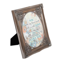 You Make My Heart Melt Brushed Silver Floral Cutout 8 x 10 Table Top and Wall Photo Frame