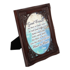 Good Friends Heart to Heart Mahogany Floral Cutout 8 x 10 Table Top and Wall Photo Frame