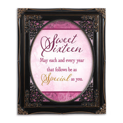 Sweet Sixteen Solid Black 8 x 10  Oval Wall And Tabletop Photo Frame
