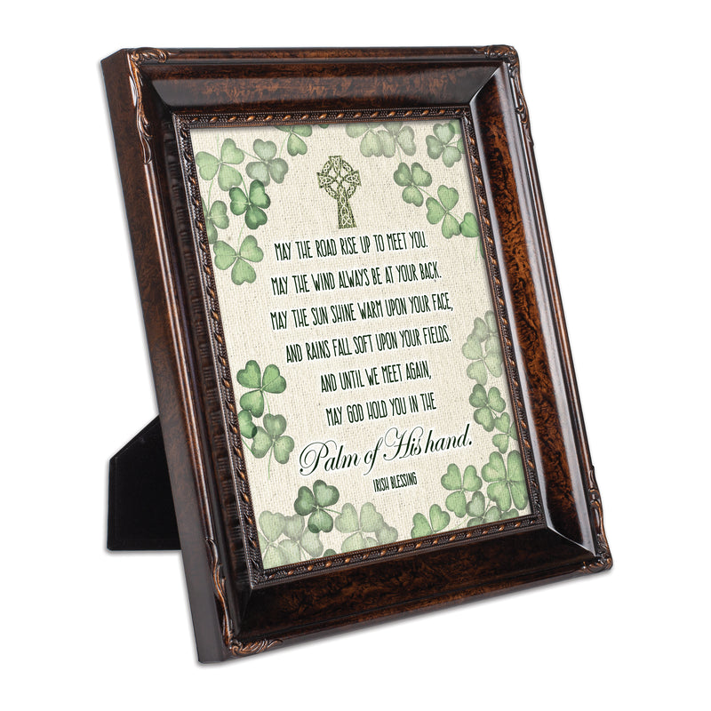Palm of His Hand Irish Blessing Burlwood Rope Trim 8 x 10 Table Top and Wall Photo Frame