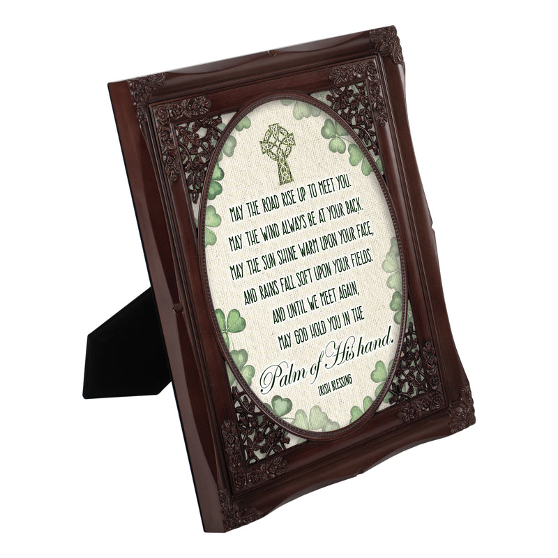 Palm of His Hand Irish Blessing Mahogany Floral Cutout 8 x 10 Table Top and Wall Photo Frame