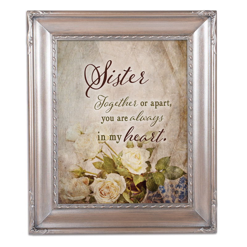 Sister Together  Silver Greybrush 8 x 10  Wall And Tabletop Photo Frame