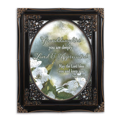 Granddaughter Loved Solid Black 8 x 10  Oval Wall And Tabletop Photo Frame