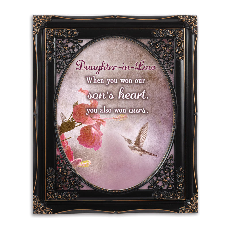 Daughter In Law Solid Black 8 x 10  Oval Wall And Tabletop Photo Frame