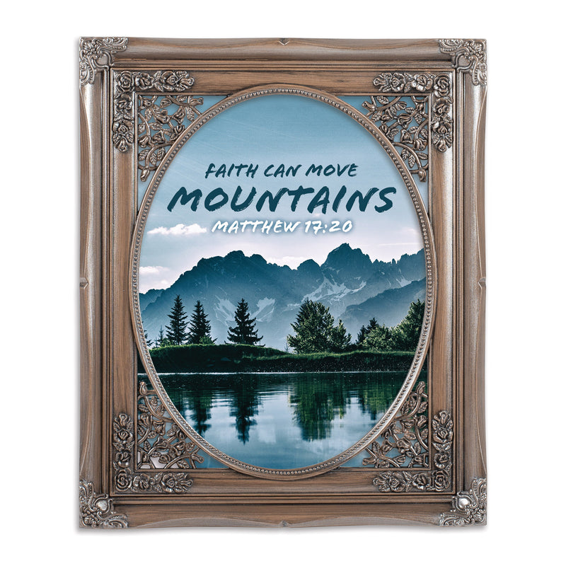 Faith Move Mountains Oval Silver Greybrush 8 x 10  Oval Wall And Tabletop Photo Frame