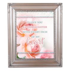 Love You Granddaughter Silver Greybrush 8 x 10  Wall And Tabletop Photo Frame