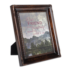 Dear Friend You Mean the World Burlwood Rope Trim 8 x 10 Table Top and Wall Photo Frame