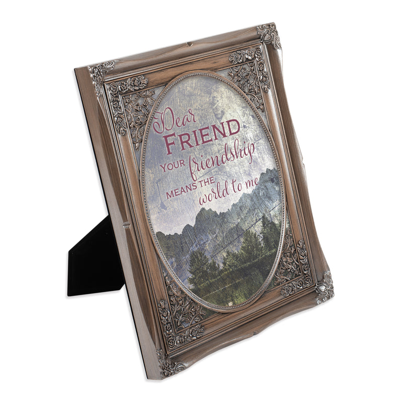 Dear Friend You Mean the World Brushed Silver Floral Cutout 8 x 10 Table Top and Wall Photo Frame