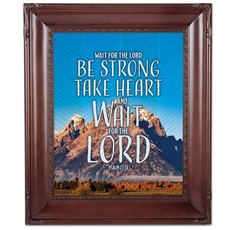 Wait For The Lord Mahogny 8 x 10  Wall And Tabletop Photo Frame