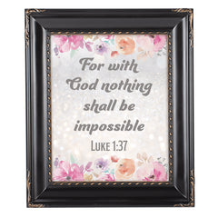 God Nothing Impossible Solid Black 8 x 10  Wall And Tabletop Photo Frame
