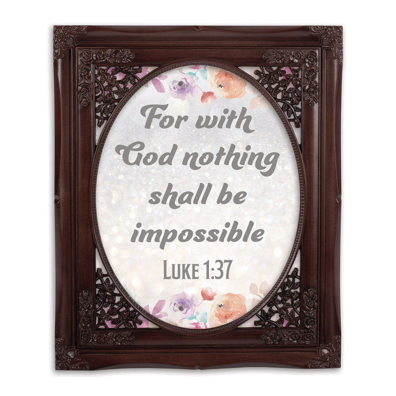 God Nothing Impossible Oval Mahogny 8 x 10  Oval Wall And Tabletop Photo Frame