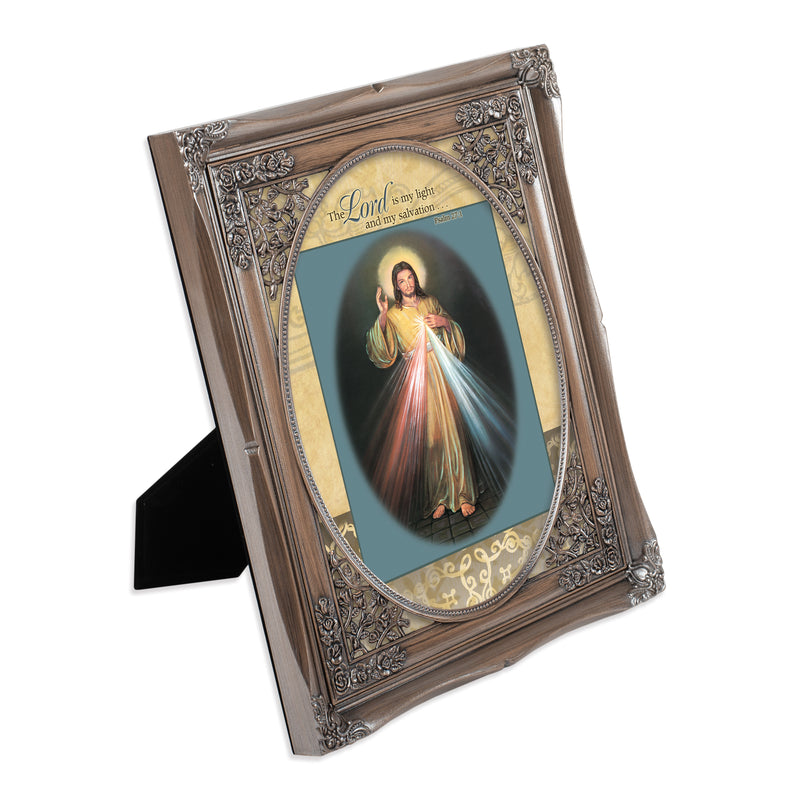 My Light and Salvation Brushed Silver Floral Cutout 8 x 10 Table Top and Wall Photo Frame