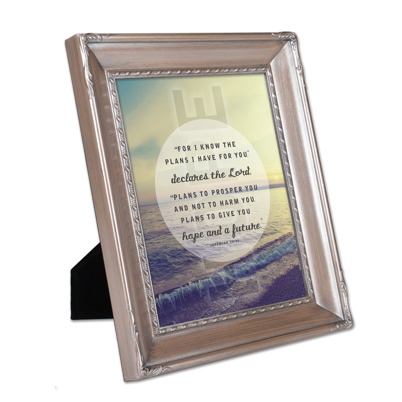 He Gives Me Hope Brushed Silver Rope Trim 8 x 10 Table Top and Wall Photo Frame