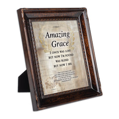 Amazing Grace Through Faith Burlwood Rope Trim 8 x 10 Table Top and Wall Photo Frame