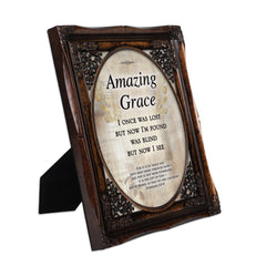 Amazing Grace Through Faith Burlwood Floral Cutout 8 x 10 Table Top and Wall Photo Frame