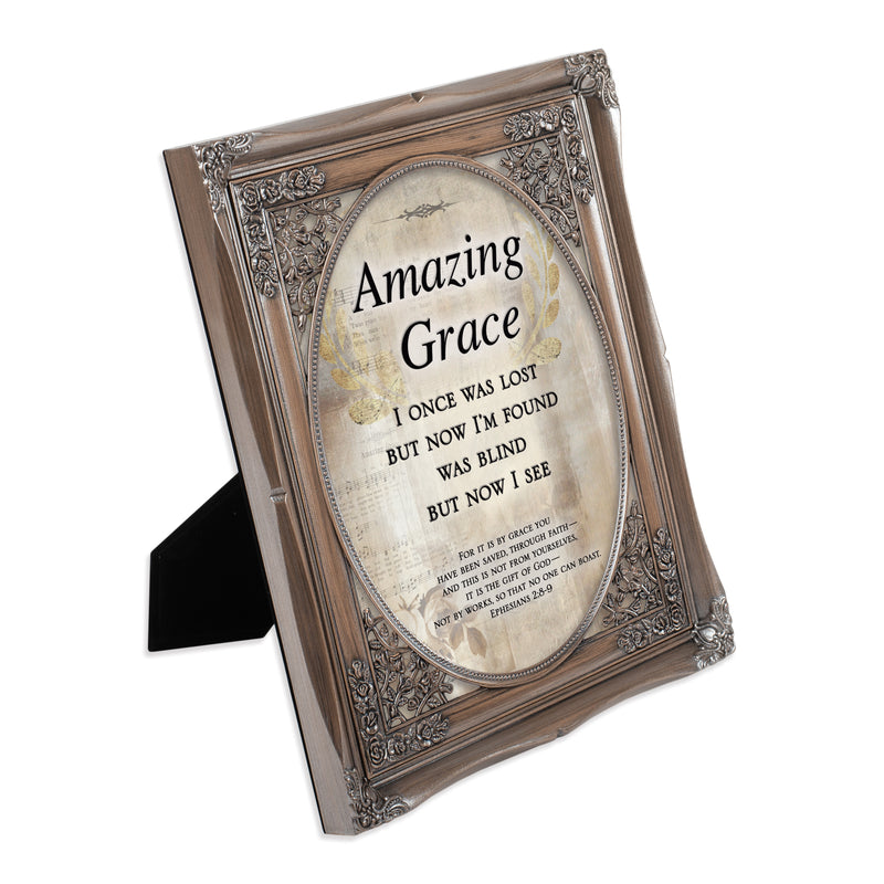 Amazing Grace Through Faith Brushed Silver Floral Cutout 8 x 10 Table Top and Wall Photo Frame