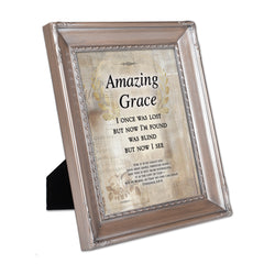 Amazing Grace Through Faith Brushed Silver Rope Trim 8 x 10 Table Top and Wall Photo Frame