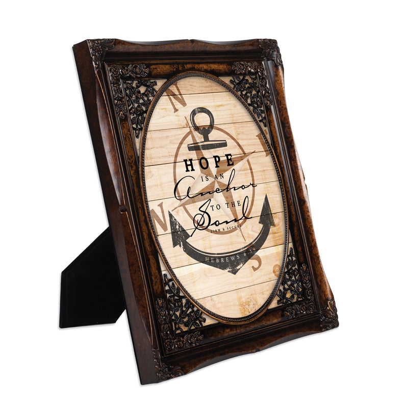Hope is an Anchor to the Soul Burlwood Floral Cutout 8 x 10 Table Top and Wall Photo Frame