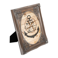 Hope is an Anchor to the Soul Brushed Silver Floral Cutout 8 x 10 Table Top and Wall Photo Frame