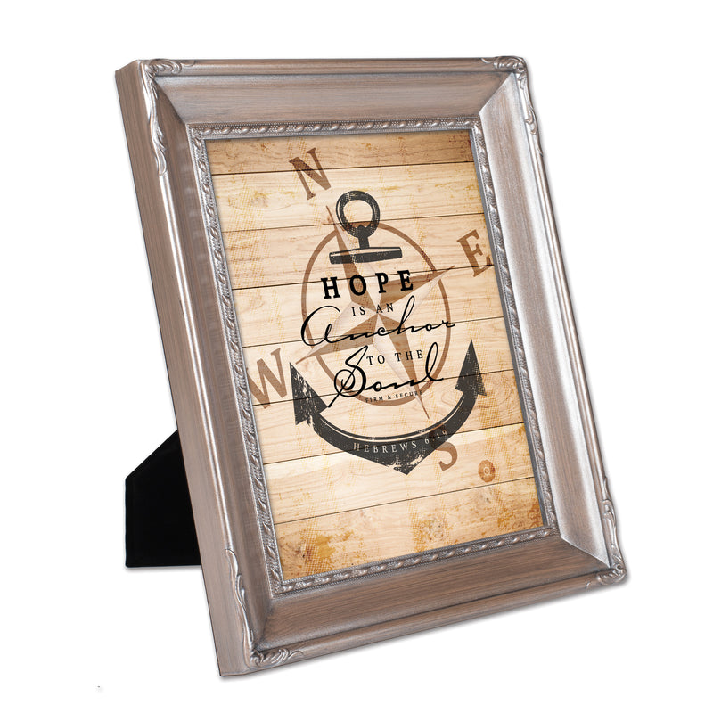 Hope is an Anchor to the Soul Brushed Silver Rope Trim 8 x 10 Table Top and Wall Photo Frame