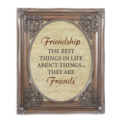Friendship is the Best Brushed Silver Floral Cutout 8 x 10 Table Top and Wall Photo Frame