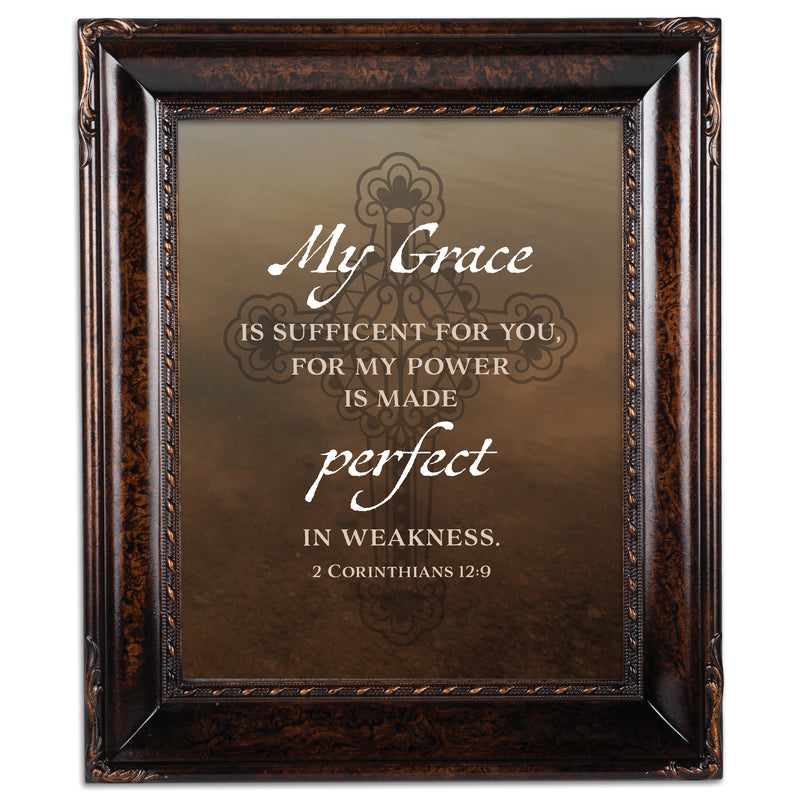 My Grace is Sufficient Burlwood Rope Trim 8 x 10 Table Top and Wall Photo Frame
