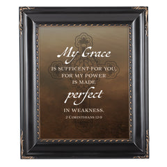 My Grace is Sufficient Black Rope Trim 8 x 10 Table Top and Wall Photo Frame
