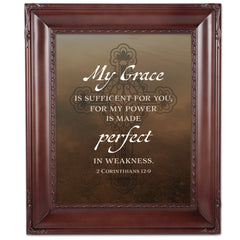 My Grace is Sufficient Mahogany Rope Trim 8 x 10 Table Top and Wall Photo Frame