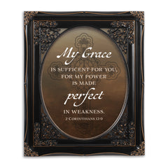My Grace is Sufficient Black Floral Cutout 8 x 10 Table Top and Wall Photo Frame