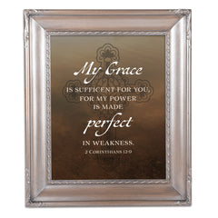 My Grace is Sufficient Brushed Silver Rope Trim 8 x 10 Table Top and Wall Photo Frame
