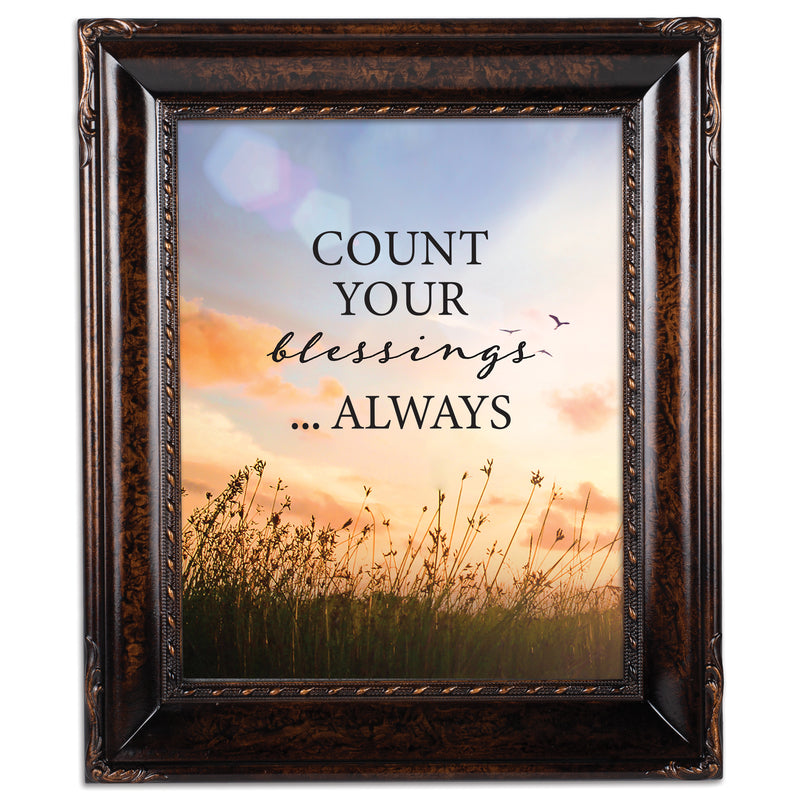 Always Count Your Blessings Burlwood Rope Trim 8 x 10 Table Top and Wall Photo Frame