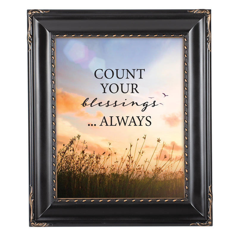 Always Count Your Blessings Black Rope Trim 8 x 10 Table Top and Wall Photo Frame