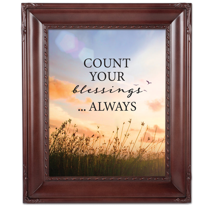 Always Count Your Blessings Mahogany Rope Trim 8 x 10 Table Top and Wall Photo Frame