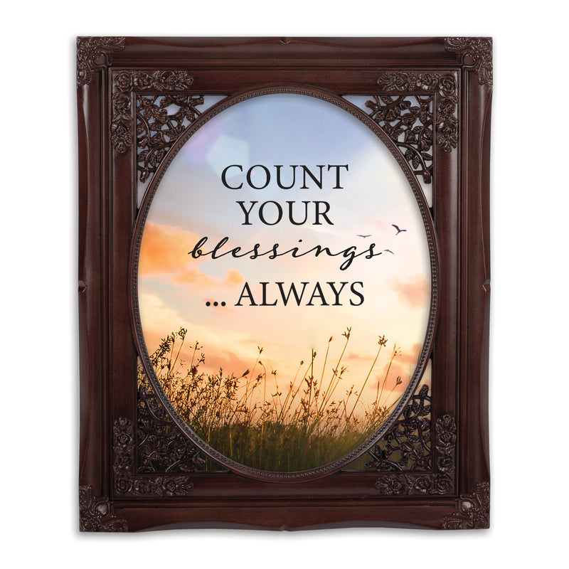 Always Count Your Blessings Mahogany Floral Cutout 8 x 10 Table Top and Wall Photo Frame
