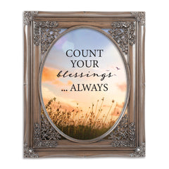 Always Count Your Blessings Brushed Silver Floral Cutout 8 x 10 Table Top and Wall Photo Frame