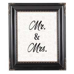 Mr. & Mrs. Black Rope Trim 8 x 10 Table Top and Wall Photo Frame