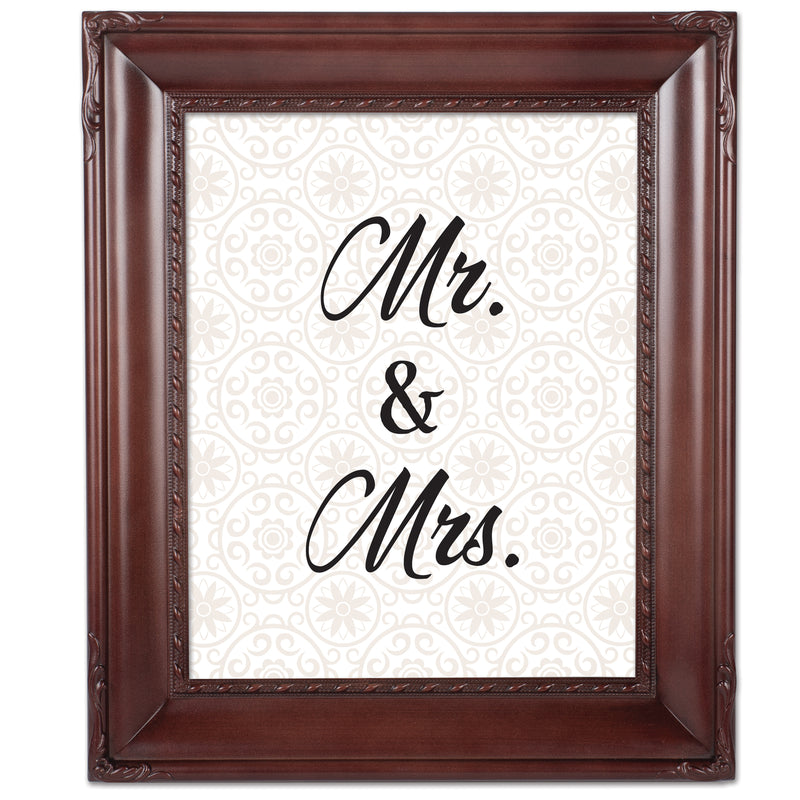 Mr. & Mrs. Mahogany Rope Trim 8 x 10 Table Top and Wall Photo Frame