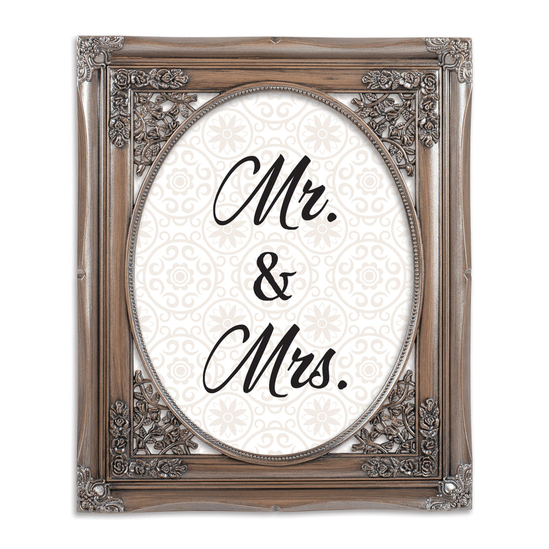 Mr. & Mrs. Brushed Silver Floral Cutout 8 x 10 Table Top and Wall Photo Frame