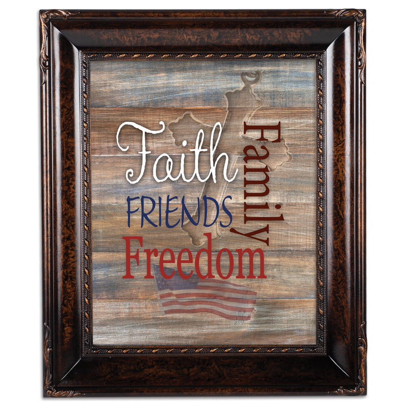 Faith Family Friends and Freedom Burlwood Rope Trim 8 x 10 Table Top and Wall Photo Frame