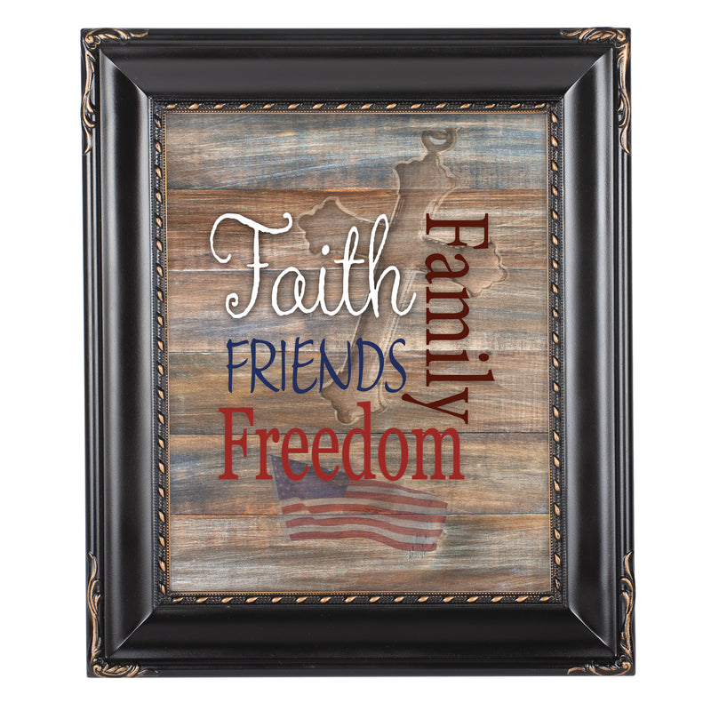 Faith Family Friends and Freedom Black Rope Trim 8 x 10 Table Top and Wall Photo Frame