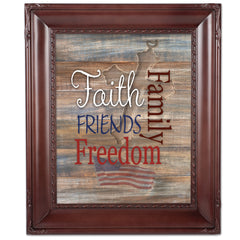 Faith Family Friends and Freedom Mahogany Rope Trim 8 x 10 Table Top and Wall Photo Frame